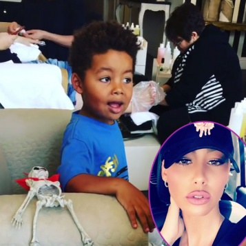 Everyone Has Something To Say About Amber Rose Letting Son Bash Get His Nails Polished Amp Her