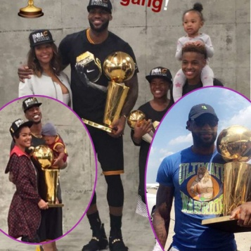 c90f7c211470 WHY THEY PLAY  Cavs Make A Quick Trip To Vegas Before Returning To Cleveland  + NBA Champs   Their Families Snap Flicks With Trophy + Did LeBron Throw  Shade