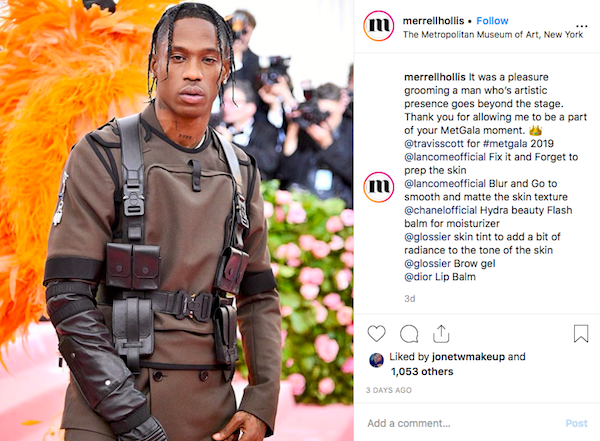 Travis Scott with Grooming By Merrell Hollis