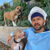 Jesse Williams with dogs Aretha & Juice