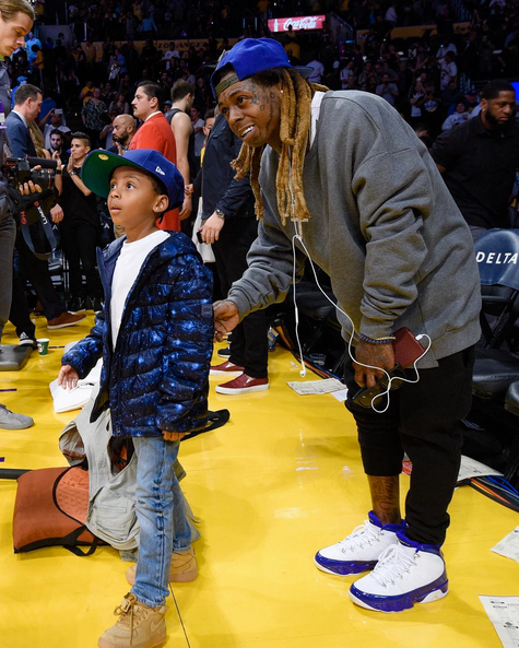 Rare Spotting Of Lil Wayne With Son By Lauren London At