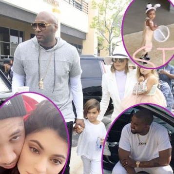 A Healthy Looking Lamar Odom Spends Easter Sunday With Wife Khloe Kardashian, Bunny Rabbits Kanye West Tyga, North, Kim The Whole Fam!