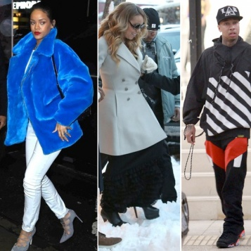 LAST MINUTE SHOPPERS: Rihanna Her Blue Fur In NYC, Mariah Carey Treks Through Snow In Aspen, Tyga In Beverly Hills, Nick Young Iggy Azalea In L.A.